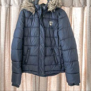 American Eagle Blue Puffer Jacket Faux Fur Hood